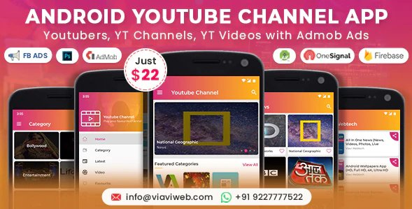 Android YouTube Channel App (Youtubers, YT Channels, YT Videos) with Admob Ads v1.3