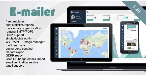 E-mailer - Newsletter & Mailing System with Analytics + GEO location v1.26