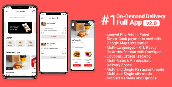 Food delivery full app with backend - Giraffy Delivery v2 Nulled
