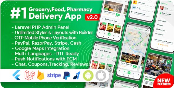 Grocery, Food, Pharmacy, Store Delivery Mobile App with Admin Panel  v2.0.1