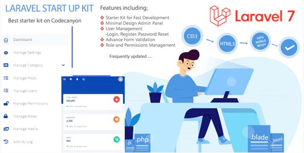 Laravel Bootstrap Starter Kit - User Manager, Role, Permission, CRUD, Media Library and More v1.0 Nulled