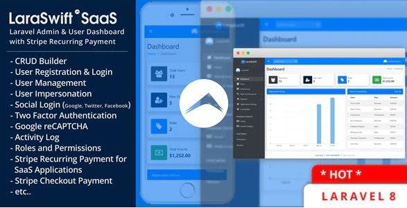 LaraSwift SaaS– Laravel Admin & User Dashboard + CRUD Builder + Stripe Recurring Payment v1.0