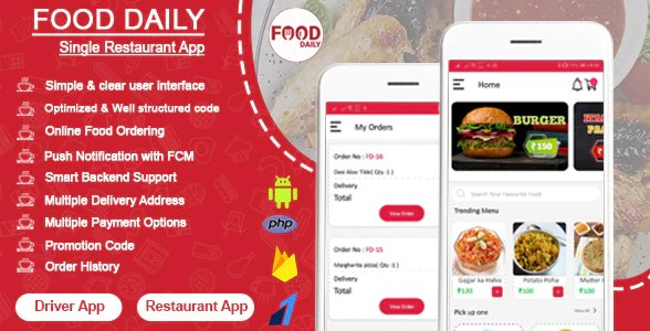 Food Daily - An On Demand Android Food Delivery App, Delivery Boy App and Restaurant App v1.0.3 Nulled
