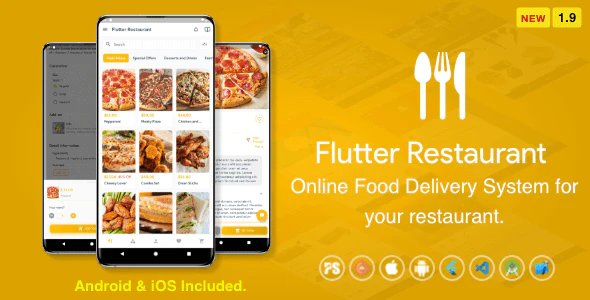 Flutter Restaurant ( Online Food Delivery System For iOS and Android ) v1.9