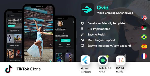 TikTok App | Video Creating Android App Template + Short Video iOS App Template| Flutter 2 | Qvid v2.2