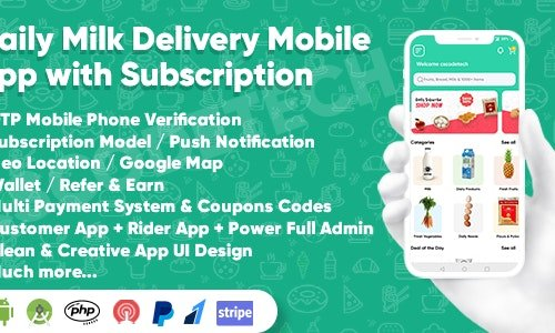Dairy Products, Grocery, Daily Milk Delivery Mobile App with Subscription   Customer & Delivery App v1.0