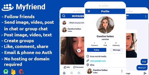 Myfriend - friends posts groups chat follow social networking app android studio + firebase + admob v1.3 Nulled
