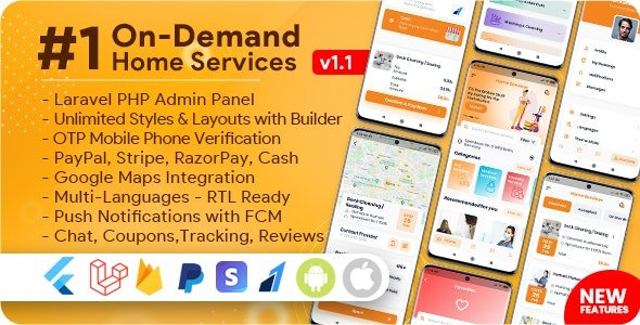 On-Demand Home Services, Business Listing, Handyman Booking with Admin Panel v1.1.6 Nulled