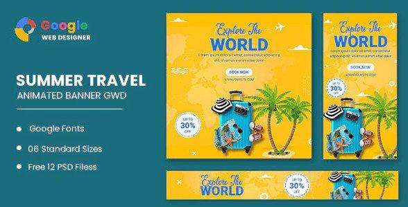 Traving World Animated Banner Google Web Designer Nulled