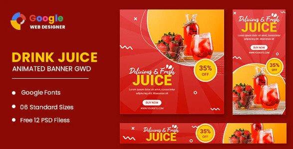 Drink Juice Animated Banner Google Web Designer Nulled
