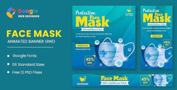 Face Mask Animated Banner Google Web Designer Nulled
