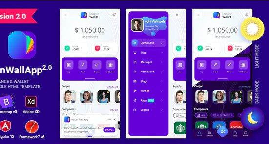 Finwallapp Finance Wallet Mobile HTML template Bootstrap 5