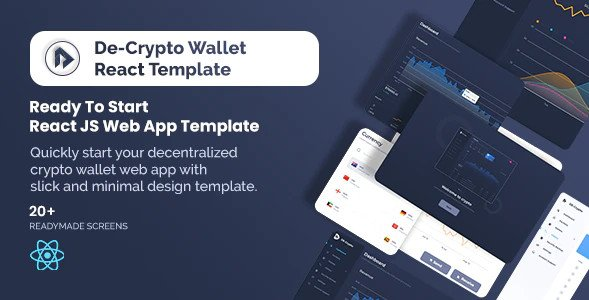 De-Crpyto Wallet - Cryptocurrency Web App React JS Template v1.1 Nulled